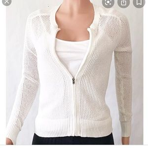 Athleta Open Knit Zip Up Sweater Cardigan Sz XL